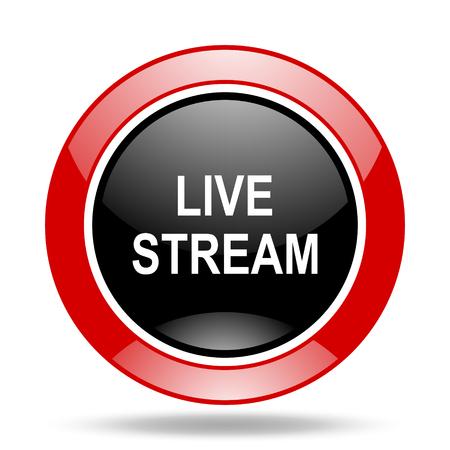live stream radio: live stream round glossy red and black web icon