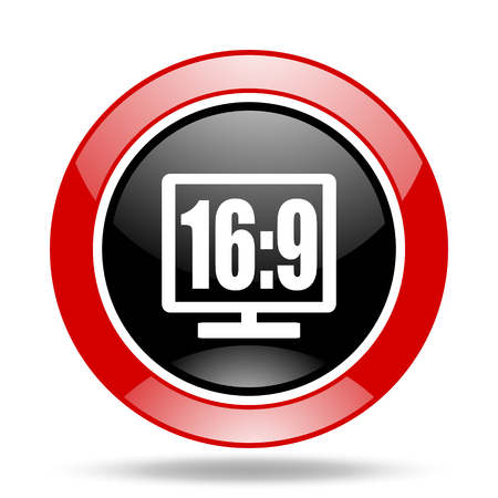 16 9: 16 9 display round glossy red and black web icon Stock Photo