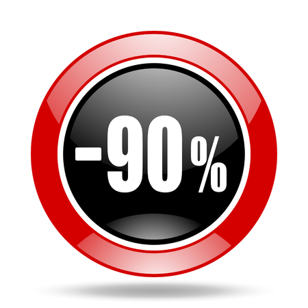 90 percent sale retail round glossy red and black web icon Stock Photo