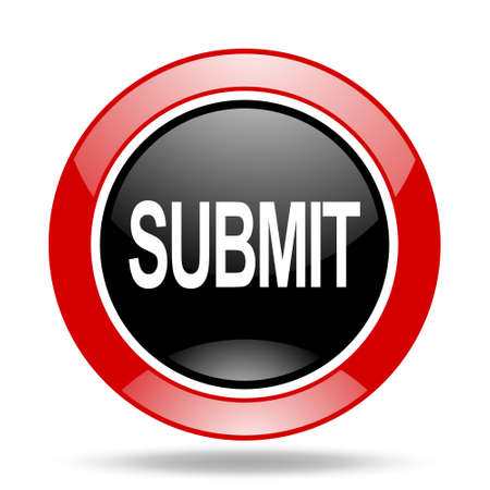 submit: submit round glossy red and black web icon Stock Photo