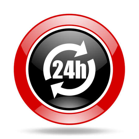 24h round glossy red and black web icon