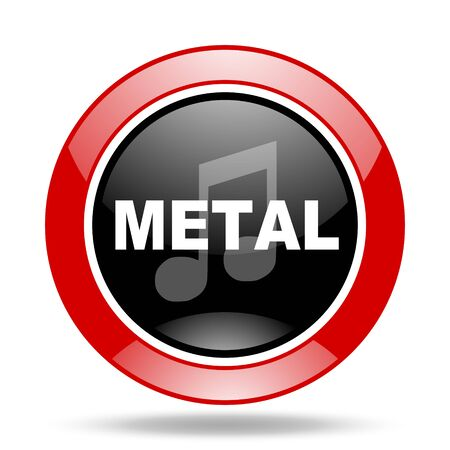 metal music round glossy red and black web icon Stock Photo