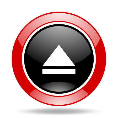 eject icon: eject round glossy red and black web icon Stock Photo