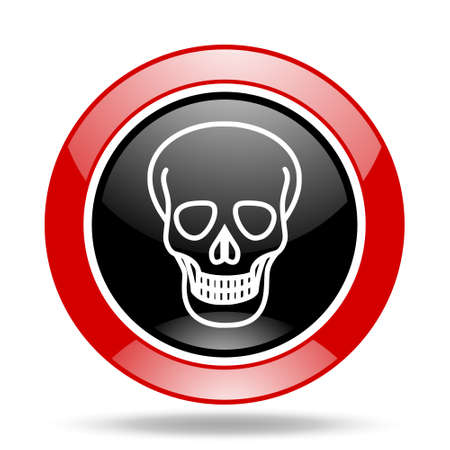 skull round glossy red and black web icon Stock Photo