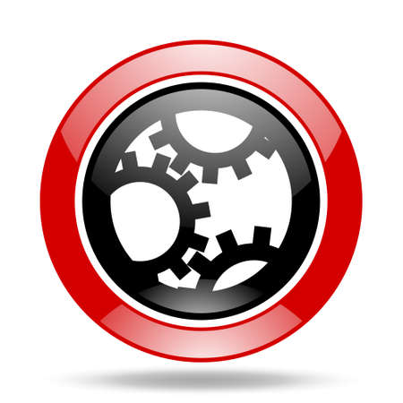 gear round glossy red and black web icon Stock Photo