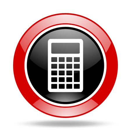 addition: calculator round glossy red and black web icon