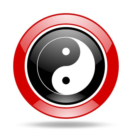ying and yang: ying yang round glossy red and black web icon