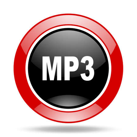 audio book: mp3 round glossy red and black web icon