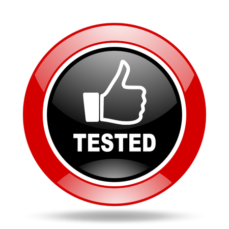 tested: tested round glossy red and black web icon