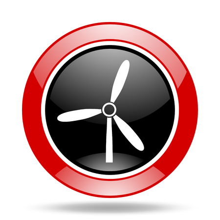 windmill round glossy red and black web icon Stock Photo