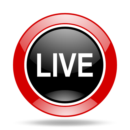 live stream tv: live round glossy red and black web icon