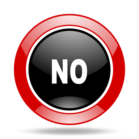negate: no round glossy red and black web icon Stock Photo