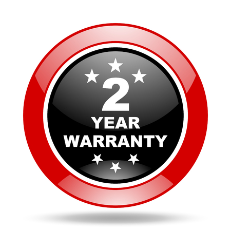 web 2: warranty guarantee 2 year round glossy red and black web icon Stock Photo