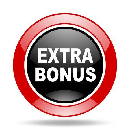 extra bonus round glossy red and black web icon Stock Photo