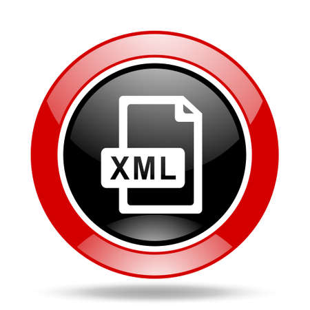 xml: xml file round glossy red and black web icon Stock Photo