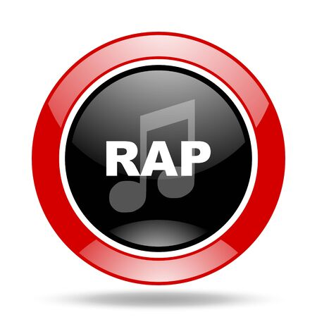 rap music: rap music round glossy red and black web icon