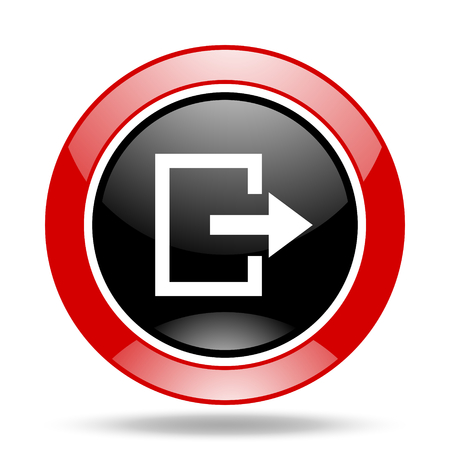 exit round glossy red and black web icon Stock Photo