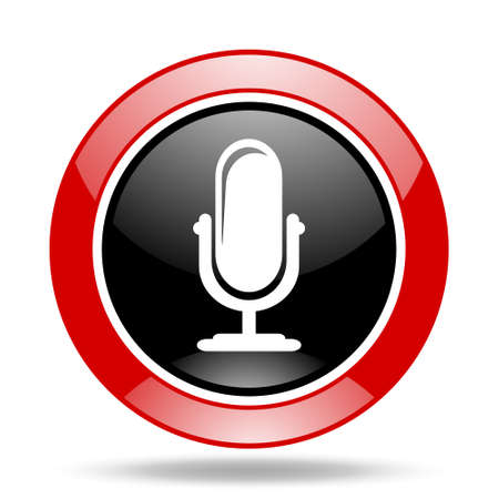 microphone round glossy red and black web icon Stock Photo