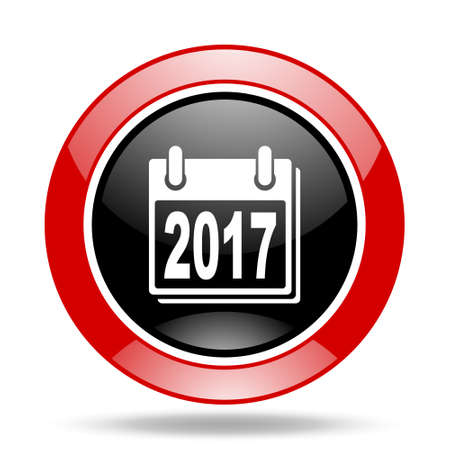 new year 2017 round glossy red and black web icon