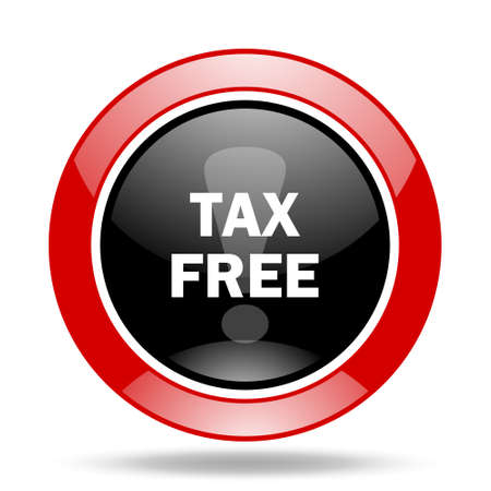 fiscal: tax free round glossy red and black web icon