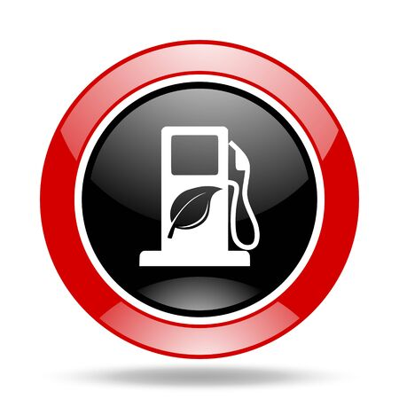 biofuel: biofuel round glossy red and black web icon