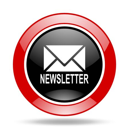 newsletter round glossy red and black web icon Stock Photo