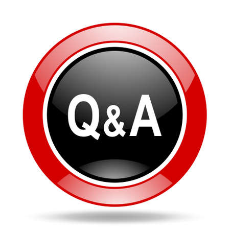 asked: question answer round glossy red and black web icon