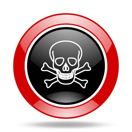 pirating: skull round glossy red and black web icon Stock Photo