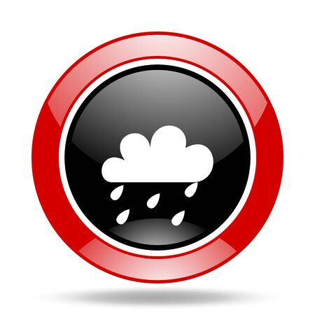 rain round glossy red and black web icon