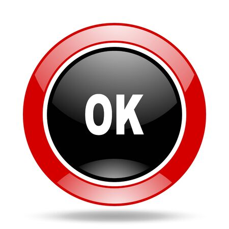 proceed: ok round glossy red and black web icon Stock Photo
