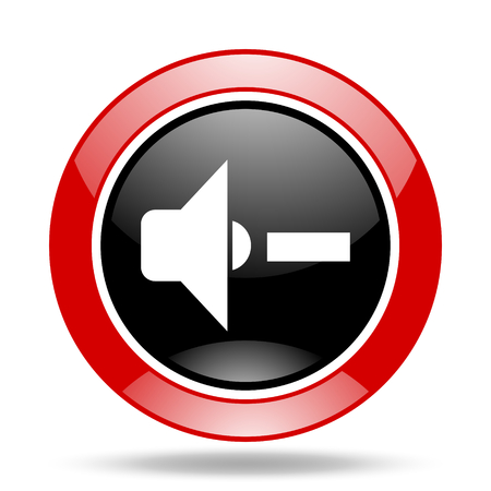 volume control: speaker volume round glossy red and black web icon Stock Photo