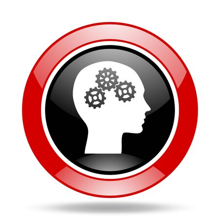 brainy: head round glossy red and black web icon