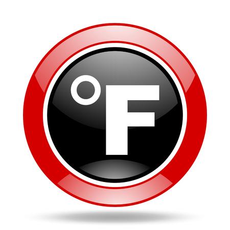 fahrenheit: fahrenheit round glossy red and black web icon