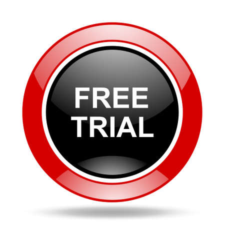 free trial: free trial round glossy red and black web icon