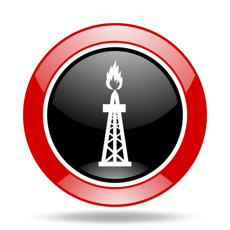 gas round glossy red and black web icon