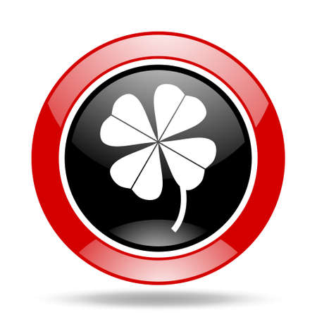 red clover: four-leaf clover round glossy red and black web icon