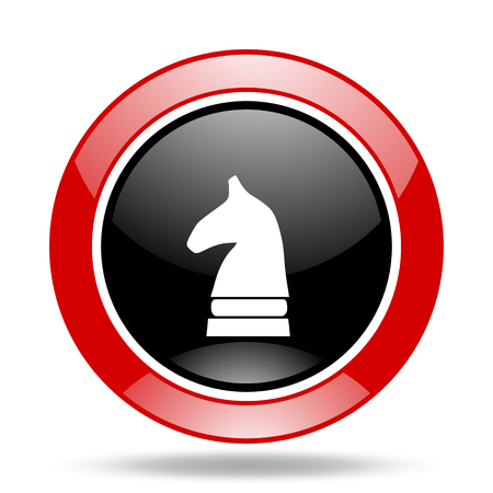 chess horse: chess horse round glossy red and black web icon Stock Photo