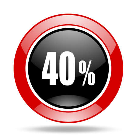 40: 40 percent round glossy red and black web icon