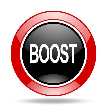 boost: boost round glossy red and black web icon