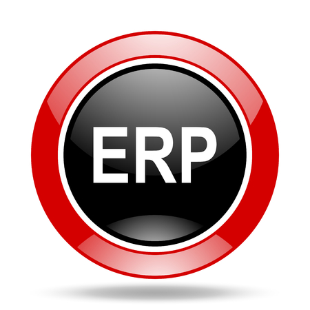 erp: erp round glossy red and black web icon