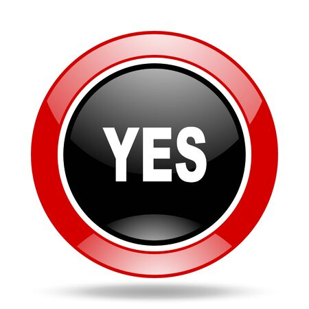 proceed: yes round glossy red and black web icon Stock Photo