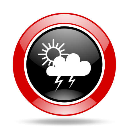 storm round glossy red and black web icon Stock Photo