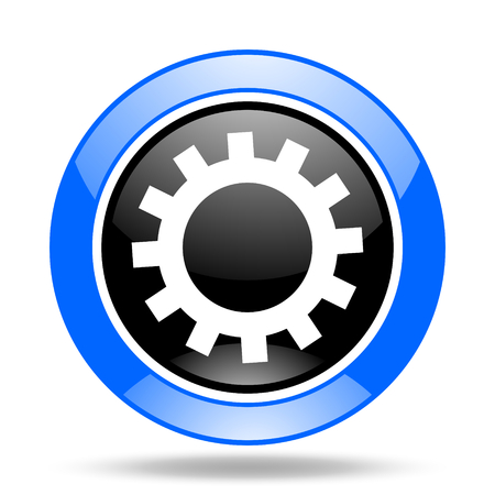 gear round glossy blue and black web icon Stock Photo