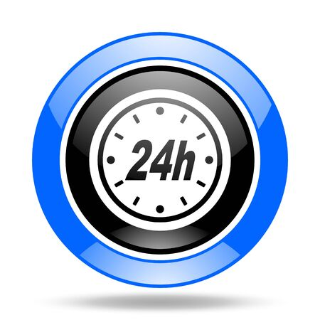 24h: 24h round glossy blue and black web icon