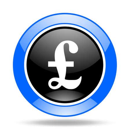 pound round glossy blue and black web icon Stock Photo