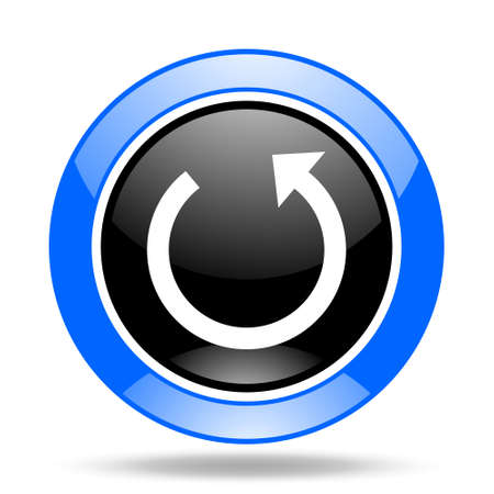 rotate: rotate round glossy blue and black web icon