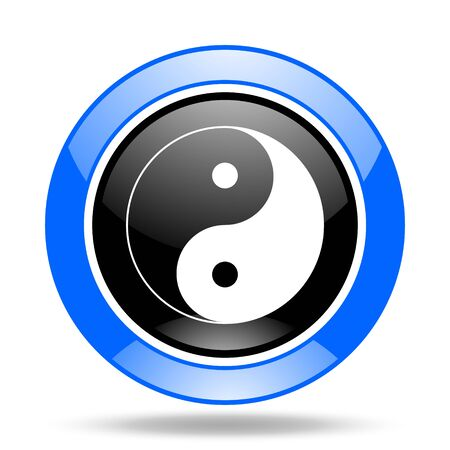 ying and yang: ying yang round glossy blue and black web icon