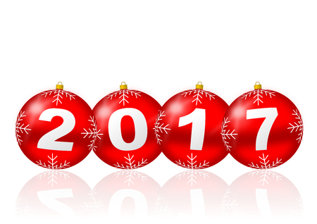 next year: Happy new year 2017 illustration with christmas balls
