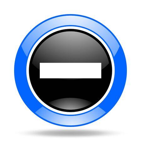 minus: minus round glossy blue and black web icon