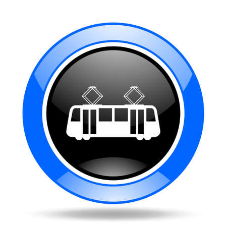 streetcar: tram round glossy blue and black web icon